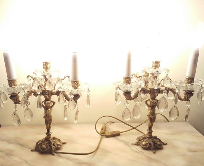 Pair of candlesticks for four candles - New wiring, mid 20th century