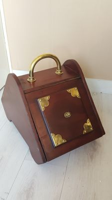 Mahogany Coal Box with Brass Fixtures, Second half 20th century