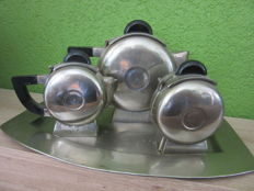 3-piece Art Deco chrome-plated metal and bakelite tea set