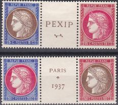 France 1937 – Exposition Philatélique de PARIS (PEXIP) type Céres on edge of sheetlet – Yvert no. 348 to 351.