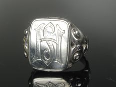 Antique silver ring, signet ring, around 1930, Germany