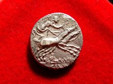 Roman Republic - L. Flaminius Chilo silver denarius (3,69 g. 18 mm.) minted in Rome, 109 B.C. Victory in galloping biga.