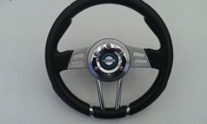 Personal sports steering wheel - leather, chrome and stainless steel - diameter 31 cm - Made in Italy, for Datsun/Nissan or other brands