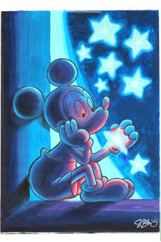 Garrido, Sergio - Dibujo original firmado por el autor - Mickey under the stars - (2017)