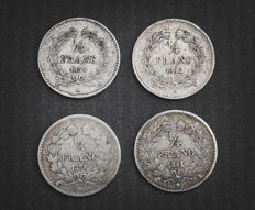 France - ¼ Franc 1832-W, 1834-A, 1838-A & 1841-A (lot of 4 coins) - Louis Philippe - Silver