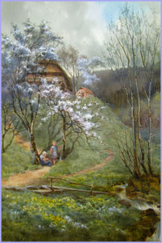 Miss J. A. Gilchrist (fl.1885-1905) - Spring in the Black Forest `When all the World Was Young`