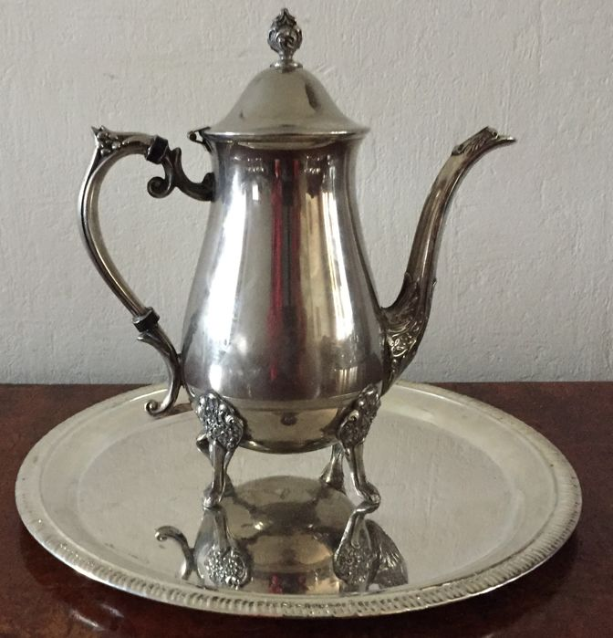 Silver plate teapot with tray
