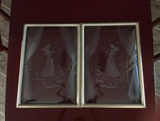2 Art Deco engraved glass panels