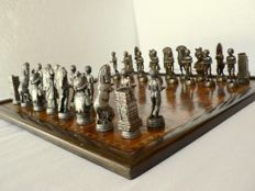 Collectible metal chess set Marquetry board