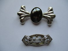 Two sterling silver brooches, vintage, with moonstone and hermatite