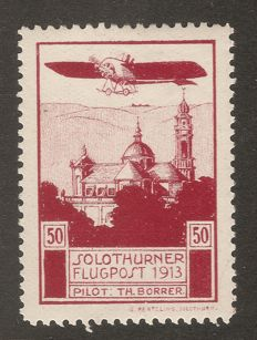 Switzerland 1913 - Airmail precursor Solothurn + letter Swissair especial flight