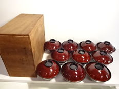 Set of 10 antique lacquerware bowls, with maki-e design of vegetables - Japan - Mid 20th century