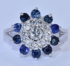 1.60 Ct Sapphires with Diamonds, sun ring – Size: 9 - No reserve price