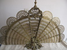 Bronze brass fire screen in fan shape, France, circa 1920