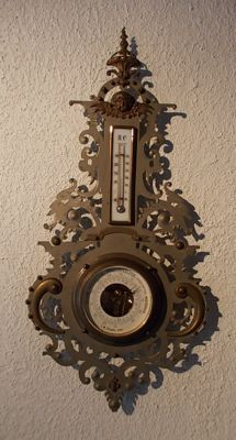 Barometer and thermometer Baroque style in metal - Germany - 19th century.