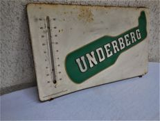 Old original promotional advertising sign Underberg with thermometer