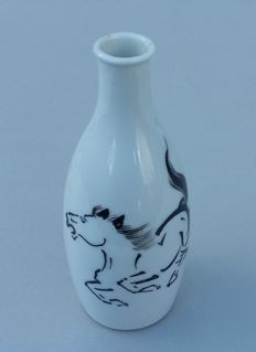 WWII: Japanese Sake Bottle Imperial Army: 'China Incident.' With horse. Beautiful!!