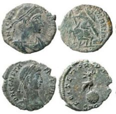 Roman Empire - Four roman bronze coins lot. Constantius II (3) and Constans AE16-19 from Arles mint. Great set of roman coins!