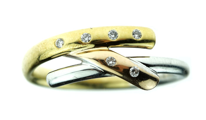 14 kt tricolour gold women's ring set with 6 diamonds - ring size: 17.5