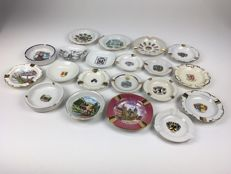 Souvenir ashtrays, mostly coat of arms, 20 pieces.