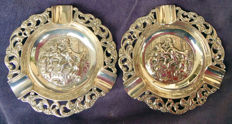 Two Sterling Silver Ashtrays with Genre Scene