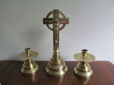 Copper altar set: cross and two candlesticks