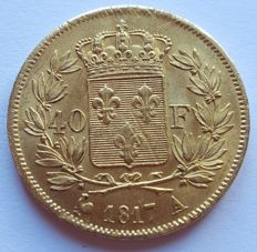 France - 40 francs 1817 A (Paris) - Louis XVIII - gold