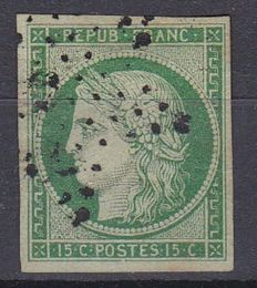 France 1850 - Ceres 15 c green - Yvert no. 2