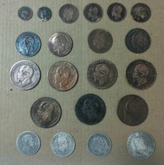 Kingdom of Italy - Lot of 21 coins from Vittorio Emanuele II period (1860-1867) including silver