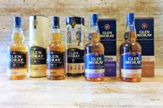 4 bottles - Glen Moray 12 YO, 16 YO, Classic Port Cask Finish, Classic Chardonnay Finish - in original boxes and tubes