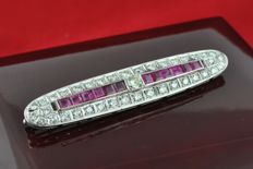 Art Deco Brooch set with Diamond & square cut Ruby, 39 Diamonds, total ca. 4.20-4.50 ct. and 12 Rubies ca. 3.50 ct.