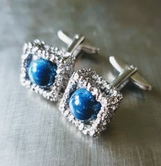 Lapis lazuli silver cufflinks, made by a jeweller, from circa 1970