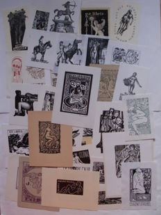 Lot with a book and 40 nude & erotic ex-libris - 1939 / 2016