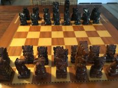 Obsidian chess game from Mexico, without board