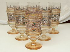Germany - Six glasses with enamel decorations in Historicising style, circa 1900