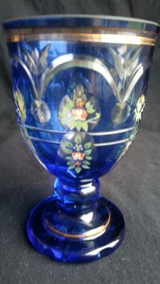 Bohemian glass cup | Cobalt Blue + Gold | Hand-Painted Floral Decorations | C. 1900