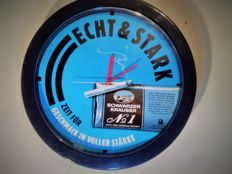 SCHWARZER KRAUSER. Clock - tobacco advertising. Diameter 41cm/4cm thickness. Vintage ca. 1970/80y..