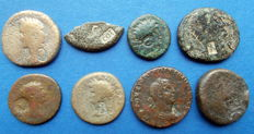 Roman Empire - Syria. Small collection of 8 AD coins with a strike