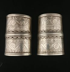 Pair of antique silver bracelets -- Turkmen tribe, early 20th century