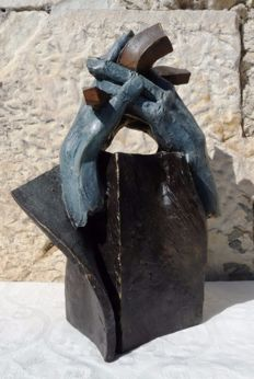 "Andres Gomez - ""Union"" - Bronze Sculpture on Resin - Stamp of the artist (5 kg / 35 cm)"