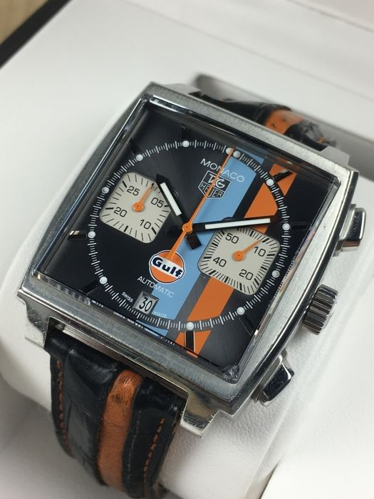 tag heuer monaco gulf edition limited racing steve mcqueen chronograph automatic caw2113 le 1163. Black Bedroom Furniture Sets. Home Design Ideas