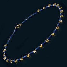 18kt/750 yellow gold necklace with sapphires and citrine – Length 48 cm