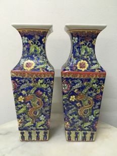 Two Porcelain Famille Rose Vases - China - late 20th century