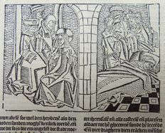 "Master of Delft; Ludolphus de Saxonia - Incunabula woodcut leaf from Vitae Christie - Jesus asked the experts in the law and the Pharisees, ""Is it lawful to heal on the Sabbath or not?"" But they remained silent. Then Jesus took hold of the man, healed him"