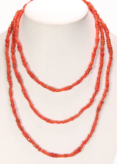 Precious coral necklace without clasp – 4 x 5 mm – 1.40 m