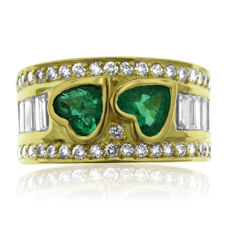Diamond and Emerald Fantasy Ring, new.