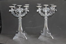Candlesticks complete aluminium set of two pieces with five arms