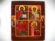 Russian orthodox iсon, Four-part icon, hand painted, tempera, wood, XX th century