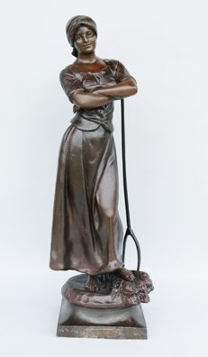 A.J. Scotte (active 1885-1905) 0 large sculpture of a farmer harvesting - bronzed white metal - 1906