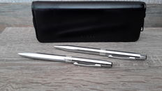 Cross ballpoint pen set-chrome - mechanical pen Gilbert +-Cross in original leather pouch